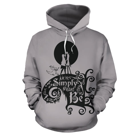 Jack Skellington & Sally Meant to Be Unisex Graphic Printed Pullover Hoodie in Gray