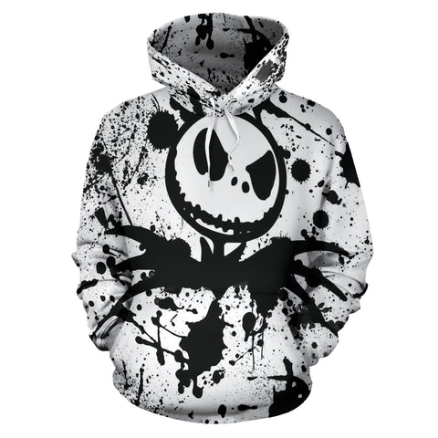 Jack Skellington Paint Splatter Unisex Pullover Hoodie in White