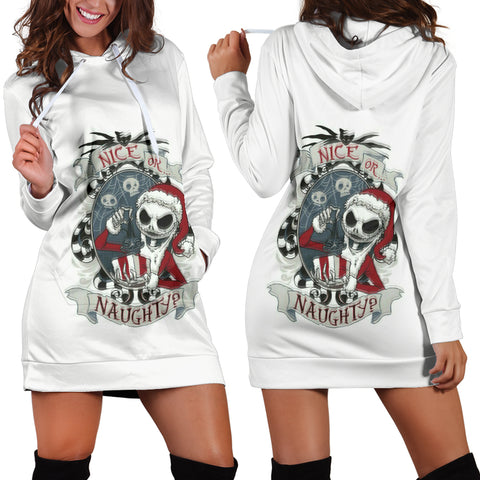 Jack Skellington Nice Or Naughty Women's Hoodie in White