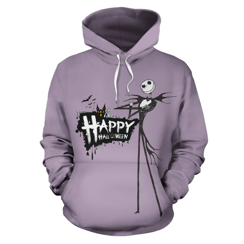 Jack Skellington Happy Halloween Unisex Graphic Hoodie in Gray