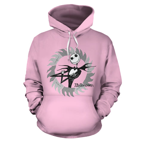 Jack Skellington Soft Halloween Unisex Graphic Pullover Hoodie in Pink
