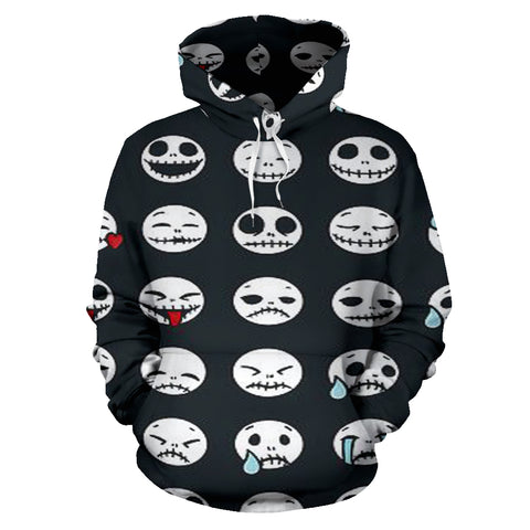 Jack Skellington Emoji Pattern Men's Graphic Pullover Hoodie in Black