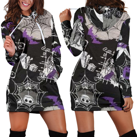 Spider Jack Skellington Women's Hoodie Dress in Purple
