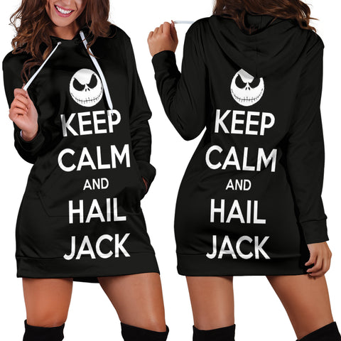 Jack Skellington Keep Calm Women's Hoodie Dress in Black