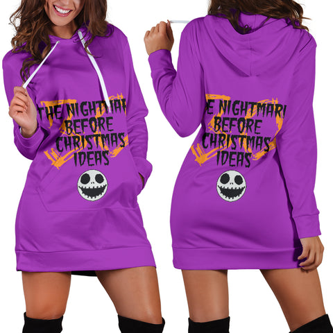 Nightmare Before Christmas Women's Hoodie Dress in Purple