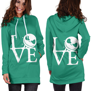 Jack Skellington Love Women's Hoodie Dress in Green
