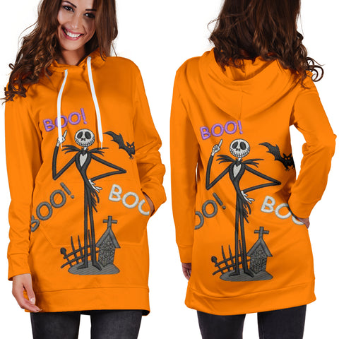 Jack Skellington Boo! Boo! Women's Hoodie Dress in Orange