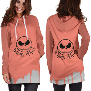 Jack Skellington Halloween What's This Women's Hoodie Dress in Orange