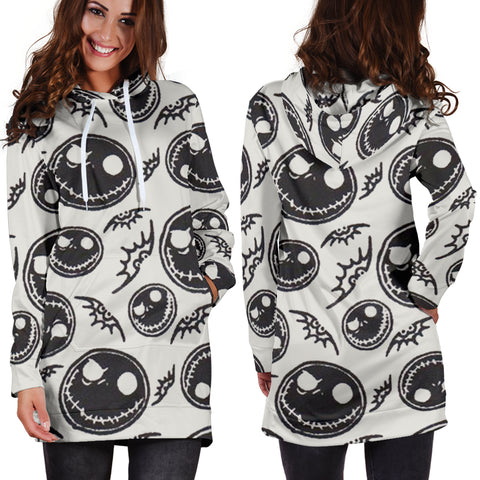 Jack Skellington & Bats Women's Hoodie Dress in Light Gray