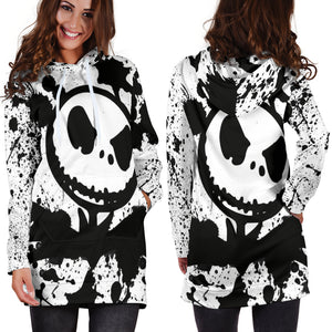 Jack Skellington Women's Hoodie Dress in Black & White Paint Splatter Design