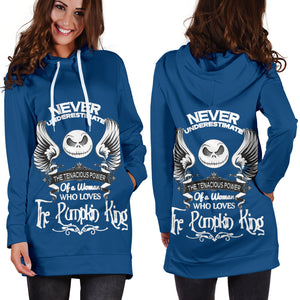 Jack Skellington Never Underestimate Women's Hoodie Dress in Navy Blue