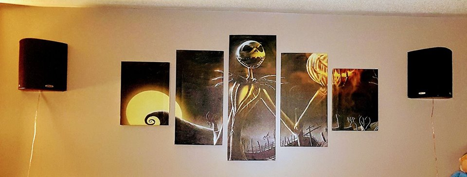 Jack Skellington Painting Modular Canvas Wall Art Pictures 5-Pieces Home Decoration