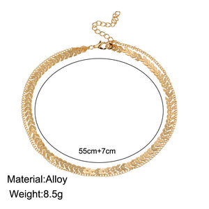 Two Layered Choker Necklace with Flat Chain - Gold & Silver Jewelry for Women