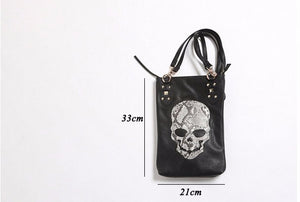 Skull Design Leather Casual Tote Bag Zippered Shoulder Bag in Black
