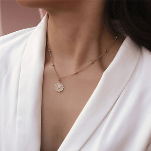Zodiac Pendant Necklace with Gold Chain and Horoscope Medallion Jewelry for Women