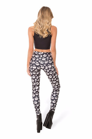Jack Skellington Ladies Leggings Pants Gym Fitness Skinny Pants