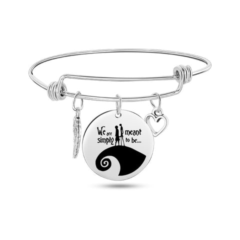 Nightmare Before Christmas Stainless Steel Charm Bangle Bracelets