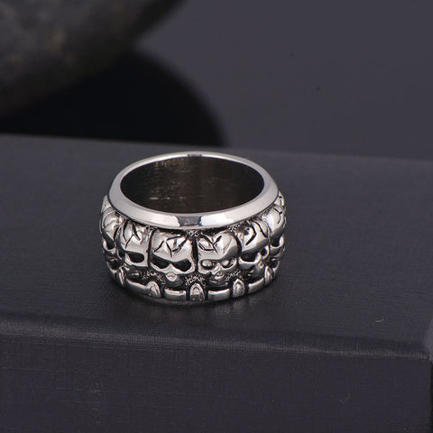 Rock & Roll Skull Pattern Metal Alloy Men's Gypsy Cocktail Ring