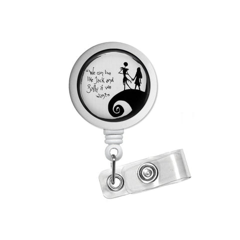 Nightmare Before Christmas Jack & Sally Retractable ID Badge Reel