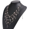 Skull & Cross Metal Chain Zinc Alloy Bib Necklace with Rhinestone