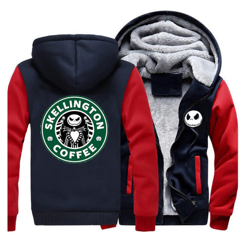Nightmare Before Christmas Skellington Coffee Fleece Zip Up Sweatshirt Hoodie