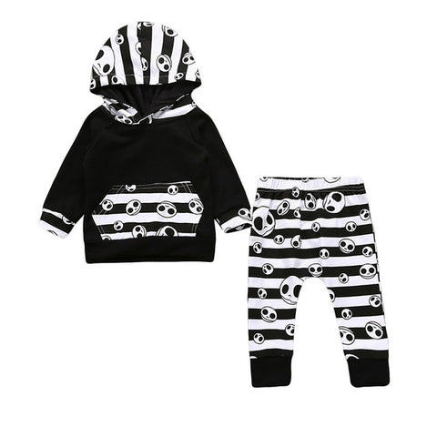 Jack Skellington Nightmare Before Christmas Stripes Hoodie & Pajama 2-Piece Set
