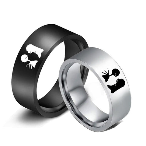 Nightmare Before Christmas Jack & Sally Titanium Ring