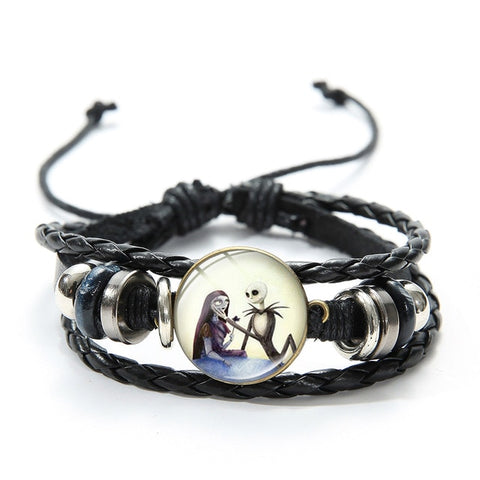 Nightmare Before Christmas Jack Skellington Cartoon Figurine Lace Up Bracelet