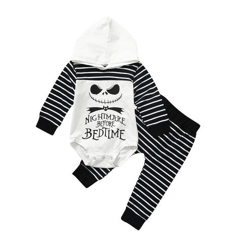 Nightmare Before Christmas 2-Piece Stripes Long Sleeves Body Suit Hoodie & Pajama for Babies