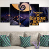 Nightmare Before Christmas Pumpkin Patch 5-Piece Pop Art Canvas Wall Art Decor - Purple