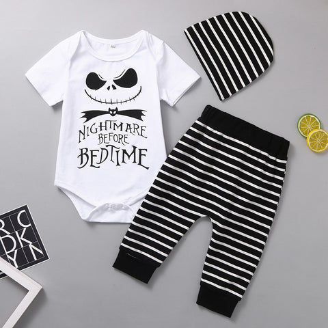 Nightmare Before Bedtime 3-Piece Romper, Pants & Hat Set
