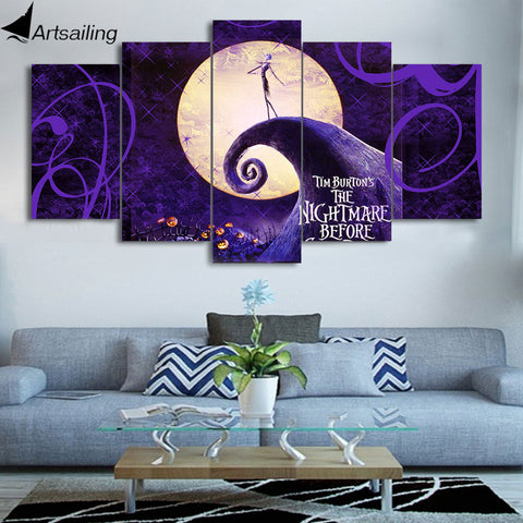 Nightmare Before Christmas Painting Modular Canvas Wall Art 5-Piece Home Decoration