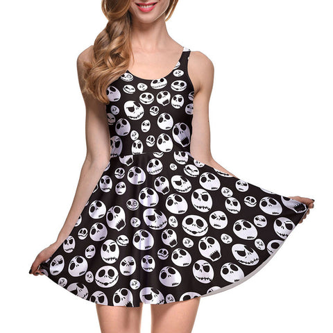 Jack Skellington Women's Sleeveless Casual Mini Dress in Black and White