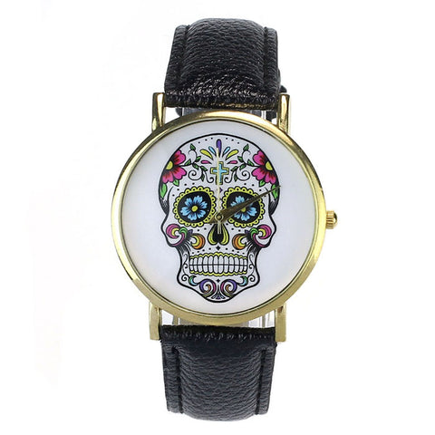 Colored Skull Leather Band Wrist Watch