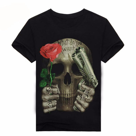Skull Design 3D Graphic Print Crew Neck T-Shirt - Series II