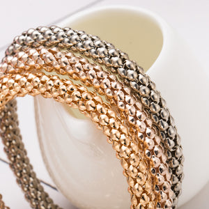 Tri-Color 3-Piece Skull Charm Stackable Snake Chain Bangle Bracelet in Gold