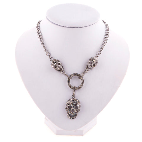 Skull Pendant with Crystal Rhinestone Link Chain Choker Necklace