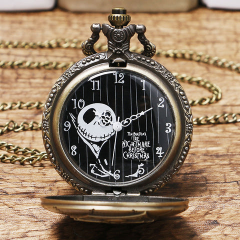 Nightmare Before Christmas Jack Skellington Vintage Quartz Necklace Pocket Watch