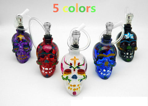 Skull Shaped Glass Hookah Pipe with Colorful Drawing and Assorted Designs