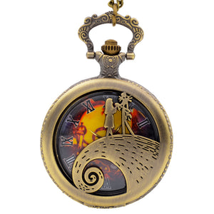 Nightmare Before Christmas Jack & Sally Vintage Necklace Pocket Quartz Watch