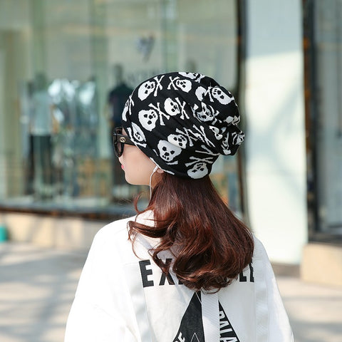 Skull and Bones Multi-Functional Beanie, Scarf and Headband Headwear in Black & White