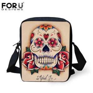 Punk Skull Printed Crossbody Unisex Canvas Messenger Bag