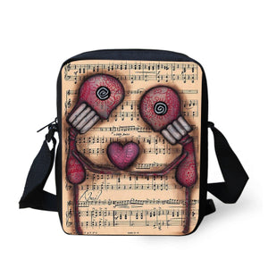 Skull Graphic Print Messenger Zippered Crossbody Bag in Black