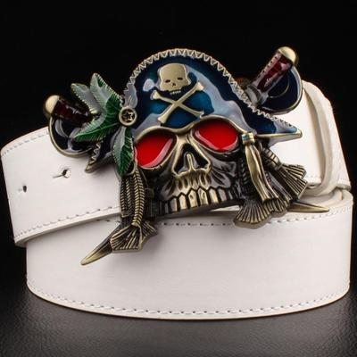 Skull Pirate Belt Buckle Synthetic Leather for Men and Women