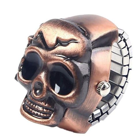 Flip-Up Skull Cover Stainless Steel Ring Finger Watch