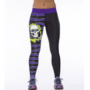 Skull & Stripes Women's Active Yoga Pants Casual Leggings in Purple