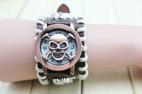 Skull Leather Bracelet Wrist Watch with Stainless Steel Casing
