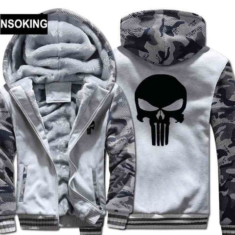 The Punisher Skull Camouflage Zip Front Hooded Fleece Jacket in Gray