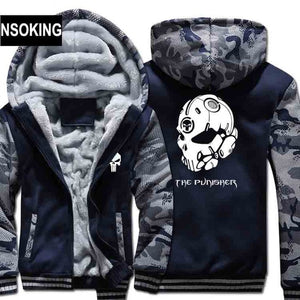 The Punisher Skull Camouflage Zip Front Hooded Fleece Jacket in Navy Blue