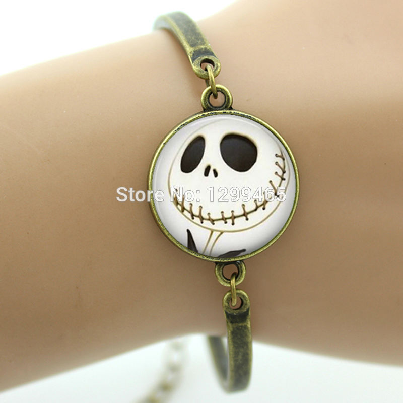 Jack Skellington Glass Dome Bracelet Cabochon Zinc Alloy Charm Bangle
